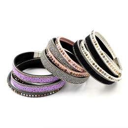 Fashion Women Wristband Bracelets Jewelry Tide Punk Rock Style Rivet Chain Charm Bracelets Multilayer Wrap Leather Bracelets Twining Bangle
