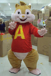 Wholesale Lovely Brown Alvin and the Chipmunks Mice Mouse Rat Chipmuck Mascot Costume Mascotte With Happy Face Adult No