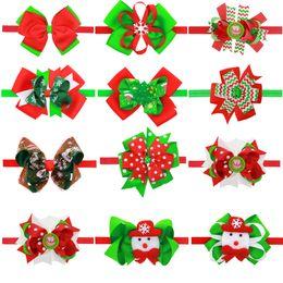 2018 Christmas Gift Baby Hair Accessories Girls Boutique Tiara Headbands Ribbon Flower Elastic Headband Ribbon Bows Snowman Headbands