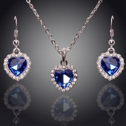Wholesale Rhinestone Titanic Rose s Austrian Blue Crystal Earrings Necklace Jewelry sets Rhinestone The Heart Of The Sea Classic Wedding