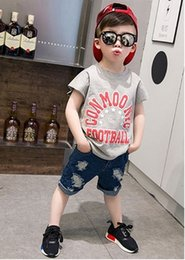 Small children with short sleeves Boy fan letter cotton T-shirt