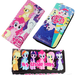 Wholesale Europe and America My Little Pony Animation leather Cartoon Zipper Hasp bag purse long wallet children gift cm