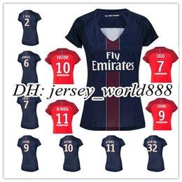 Wholesale top thai quality women PSG soccer Jersey PASTORE home Blue away red lady DI MARIA CAVANI VERRATTI DAVID LUIZ feminine football shirt