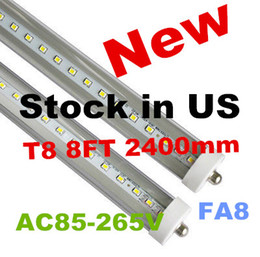 Stock In US + 8 feet led tubes single pin t8 FA8 Single Pin LED Tube Lights 45W 4800Lm Bulbs 2400MM led lights LED Fluorescent Tube 85-265V