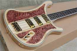 Wholesale New Style deluxe edition neck through body nc carving Rick Nature Wood Pickups Strings Electric Bass Guitar