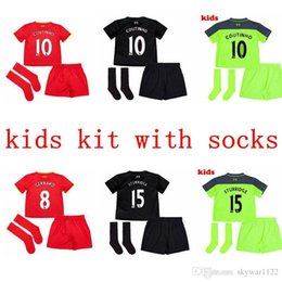 Wholesale 2016 liverpool kids kit boy socks jerseys GERRARD LALLANA LUCAS COUTINHO FIRMINO MANE Football Shirt camisetas de futbol
