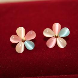 Cherry blossoms Stud Earrings gemstone Earrings Opal Flower Stud Earrings Fashion Jewelry For Women Hot Sale