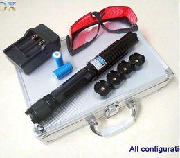 Wholesale high power nm blue laser pointer adjustable focus burning blue laser light beam torch lit cigars burn wood Self defense weapons