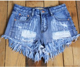 Wholesale The hot blast hole in women s Dress Shorts shorts denim rivets