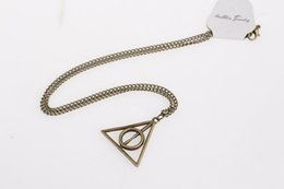 Wholesale 600PCS hot sale colors Harry Potter Deathly Hallows Necklace Triangle Gift Antique copper Silver Gold Movie Jewelry WA0322