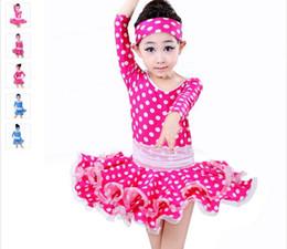 Latin Dance Dress For Girls Dot Rose Blue Kids Dance Costume Dress&Hair Band Children Latin Dance Dresses Long Sleeve Dancewear