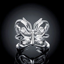 Openings Adjustable Inlaid Stone Butterfly Ring Zircon Silver Couples Ring Festival Gifts for Friends & Lovers Christmas