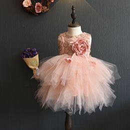 Wholesale High girls lace dress floral dresses kids red princess dress Childrens Fashion Clothing tutu dress Pretty girl christmas dress