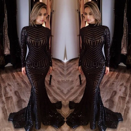 Wholesale Cheap Long Red Sparkly Dress - Bling Black Sequined Evening Dresses 2016 High Neck Long Sleeves Mermaid Prom Dresses Long Sparkly Sequins Red Carpet Dresses Cheap