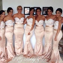 Custom Made Plus Size Mermaid Bridesmaid Dresses 2016 Sweetheart White Lace Champagne Satin Sash Maid Of Honor Wedding Party Guest Gowns