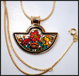 Monet Poppy Series 18K gold-plated enamel necklaces for woman Fan Pendant Necklace colar women necklace