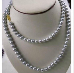 """NEW 48"""" Beautiful 9-10MM NATURAL SOUTH SEA GENUINE GRAY PEARL NECKLACE Gold 14K"""