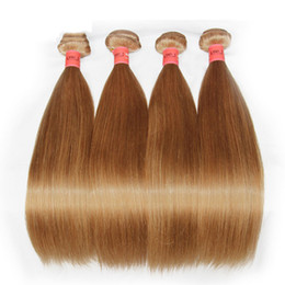 Honey Blonde Human Hair Weaves Bundles Color 27# Brazilian Peruvian Malaysian Indian Russian Straight Virgin Remy Hair Extensions Grade 8A