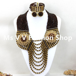 Latest 10 rows Black Gold African Beads Jewelry Set for Wedding Handmade Nigerian crystal Beaded necklace Set Free Shipping