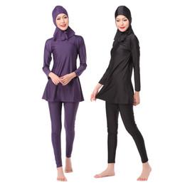 Wholesale Solid color black purple burkini women muslim swimsuit islamic swimwear pieces seperated bathing suit modest muslim swimwear