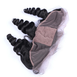 Free Middle 3Way Part Virgin Indian Human Hair 4x4 Silk Base Lace Frontal Closure Loose Wave Silk Top Lace Frontal Pieces Bleached Knots