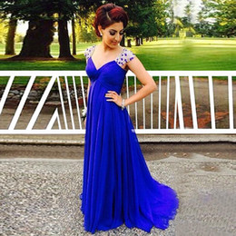 2016 Royal Blue Evening Dresses with Crystals A Line V Neck Chiffon Party Evening Gowns Custom Made