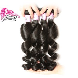 Beauty Forever Loose Wave Peruvian Human Hair Natural Color 16-26inch Hair Extension 4 Bundles Human Hair Weave Wholesale Mix Length Bulk