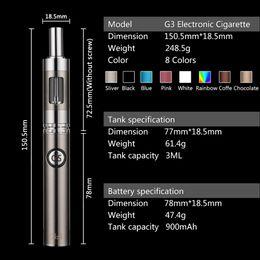 Wholesale Authentic G3 vape cigarette mah ecig Mods ohm Glass tank E cigarette Kits with PU handbag