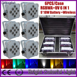 6 X Lot with charging flight case wholesale price Portable colorful led battery operated wireless dmx led par uplights wedding decor
