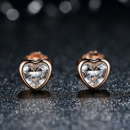 Genuine 925 Sterling Silver Earring Studs One Love Rose Gold Heart Earrings Women Fine Wedding Jewelry ER045