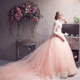 Gorgeous 2018 Blush Pink White Lace 3 4 Long Sleeves Princess Wedding Dresses Romantic Crew Neck Lace Hem Cathedral Train Bridal Gowns
