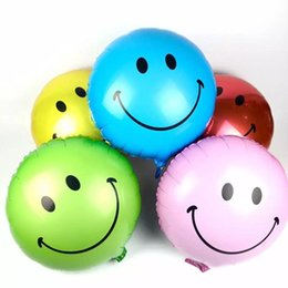 Wholesale New style Air balls Helium foil Balloons smiling face balloons Smile Happy Birthday Decorations wedding Market activity decorate