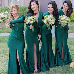 Emerald Green Long Sleeves Bridesmaid Dresses Mermaid Pleats Front Split Wedding Guest Dress Floor Length Plunging Formal Evening Wear 2019