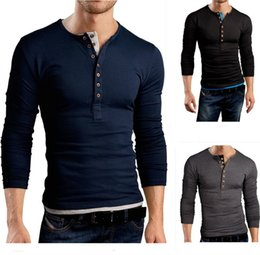 Free Shipping 2017 Autumn and Winter Men's Fashion Casual Double-breasted Cultivating Long-sleeved T-shirt