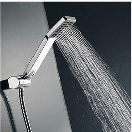 Wholesale 1Pcs Universal Handheld Chrome Water Saving Pressure Rainfall Square Nickel ABS Hand Held Shower Head Handshower For Bathroom