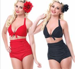 Wholesale New National Bikini Set Plus Size Padded Bra Women Bikinis High Waist Swimsuit for Girls Retro Dot Swimwear chest wrapped Bathing suits