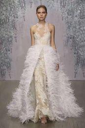 ostrich feather detachable overskirt wedding dresses 2017 monique lhuillier lace wedding gowns stunning jewel neckline bridal gowns
