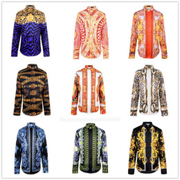 Wholesale Famous Brand design clothes men galaxy golden dragon flower print long sleeve d shirt Baroque printing Medusa men cool shirts