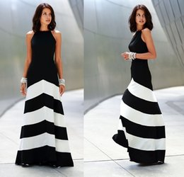 .2016 Women Hot Fashion Black and White Stripe Splicing Backless Sleeveless Dresses Floor Length Long Casual Party Maxi Dress #1229