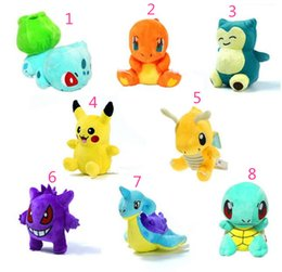 Wholesale 8 style Poke Mon Pokémon Plush dolls toys cm children Pikachu gengar Lapras Charmander Bulbasaur Jeni turtle Plush dolls