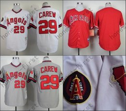 Wholesale 2016 Rod Carew Jersey Retro Los Angeles Angels Jerseys Throwback White Grey
