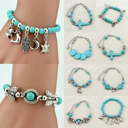 Charms Adjustable Tibetan Silver Turquoise Beaded Bracelet Wristband Womens Bangle Jewelry