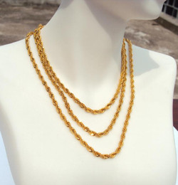 MENS LONG YELLOW GOLD FILLED CUBAN FRIED DOUGH TWIST CHAIN NECKLACE 34IN 880MM Gold is about 30% or more