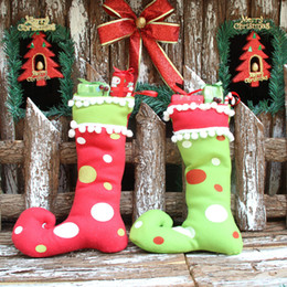 Wholesale 2016 New Cute Santa Claus Elf Shoe Boots Suspenders Pant Candy Gift Bag Small Sack Stocking Filler Christmas Decoration For Home