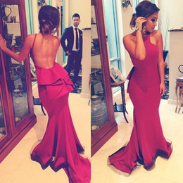 2016 Sexy Backless Mermaid Prom Dresses Arabic Bateau Peplum Long Cheap Plus Size Party Evening Gowns Custom Made Pageant Formal Skirt New