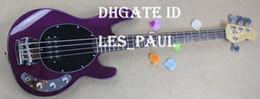 Hombre de raya de música en Línea-Music Man 4 Cuerdas Bajo Erime bola de la pastinaca de la guitarra eléctrica púrpura final del cromo hardware cuerdas a través del cuerpo de palisandro