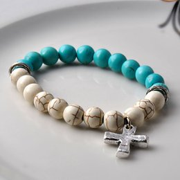 Wholesale New bracelet Antique brass silver cross pendant natural Semi Precious Stone Beads white turquoise lava bangle fashion Jewelry for women girl