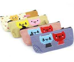 Promotion mélanger le cas de la mode Vente en gros-4 x Fashion Creative Étudiants Canvas Cartoon Colorfyl Stripe Cat Étui à Crayons Enfants Cute Pen Sac Mélangé Couleur SN08