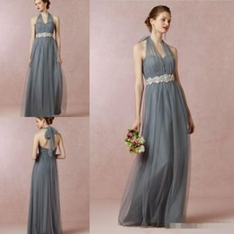 2019 Bridesmaid Dresses Halter Sweetheart Custom Made Maid Of Honor Long Floor Tulle A Line Wedding Party Guest Gowns Cheap
