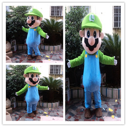 Top quality super mario mascot costume with Dark Brown Hair Costume for Halloween Party Adult Size Fancy Dress